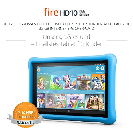 Fire HD 10 Kids Edition-Tablet, 25,65 cm (10,1 Zoll) 1080p Full HD-Display, 32 GB, blaue kindgerechte Hülle