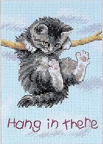 Kitty Cat Cross Stitch - Dimensions Hang in There Cat Counted Cross Stitch Kit, 14 Count Light Blue Aida, 5'' x 7''