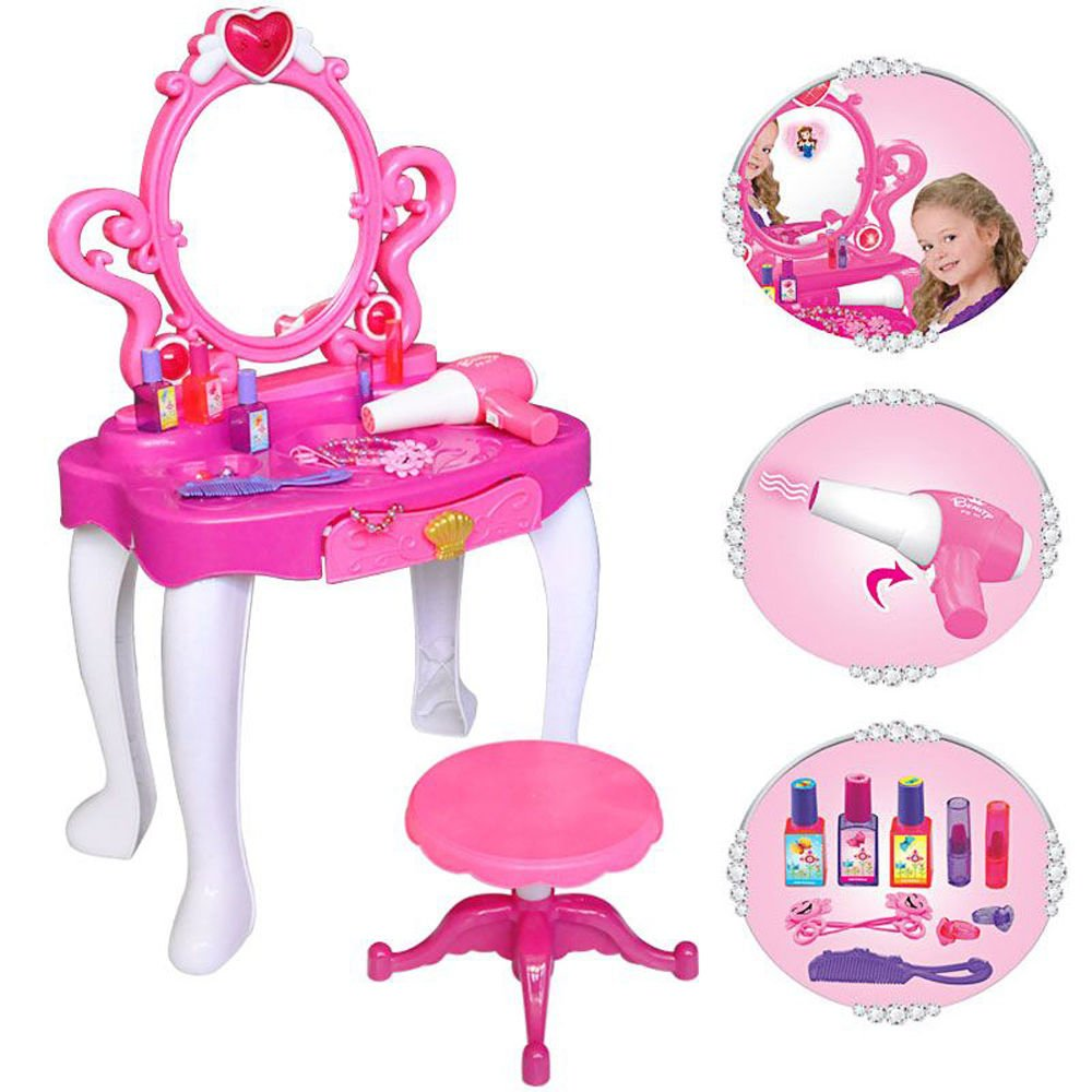 Girls Pink Vanity Jewellery Dressing Table With Mirror And Stool Play Set  Toy With Music And Lights By BSL: Amazon.co.uk: Toys & Games