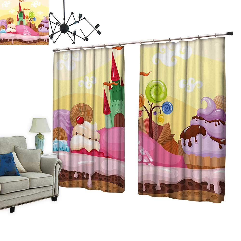 PRUNUS Blackout Curtains with Hook Kids Sweet Castle Landscape with Donuts Muffins Ice Cream Nursery Image Sand Brown Warm Home Designs,W84.3 xL72