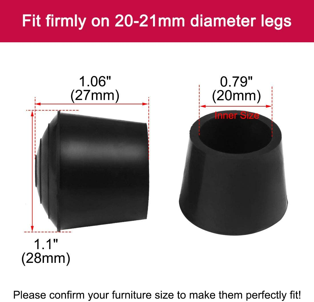 uxcell 14pcs Leg Caps Tips 20mm 3//4 Inch Non Slip Rubber Table Feet Cover Floor Protector Reduce Noise Prevent Scratch Wear Resistant