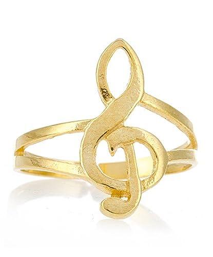 Córdoba Jewels | Anillo en Plata de Ley 925 bañada en Oro. Diseño Clave de Sol Oro: Amazon.es: Joyería