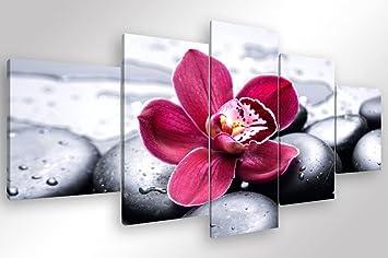 Degona quadro moderno orchid zen 5 pz. cm 200x90 stampa su tela