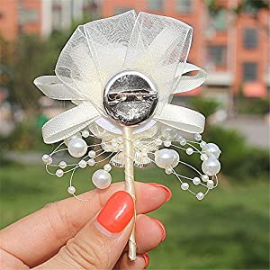 S_SSOY Boutonniere Bridegroom Groom Men's Boutonniere Groomsmen Boutineer Pin Corsage Flower for Wedding Homecoming Prom Suit Decor 2