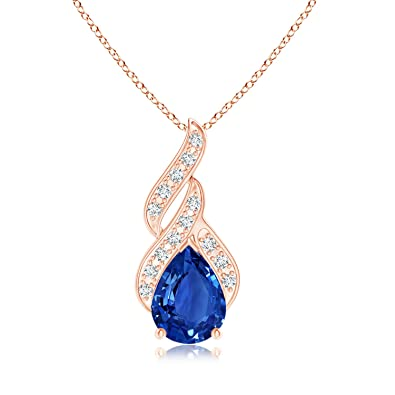 Angara Round Blue Sapphire Solitaire Pendant with Diamond Bale in Rose Gold EcA8z