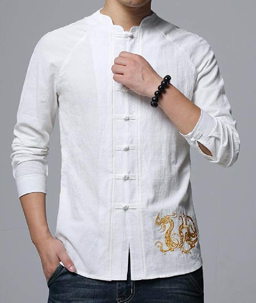 VITryst-Men Long-Sleeve Chinese Tunic Suit Embroidery Spring//Fall Casual Longshirt