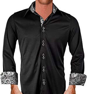 product image for Black with Gray Contrast Moisture Wicking Designer Dress Shirt - Made in USA