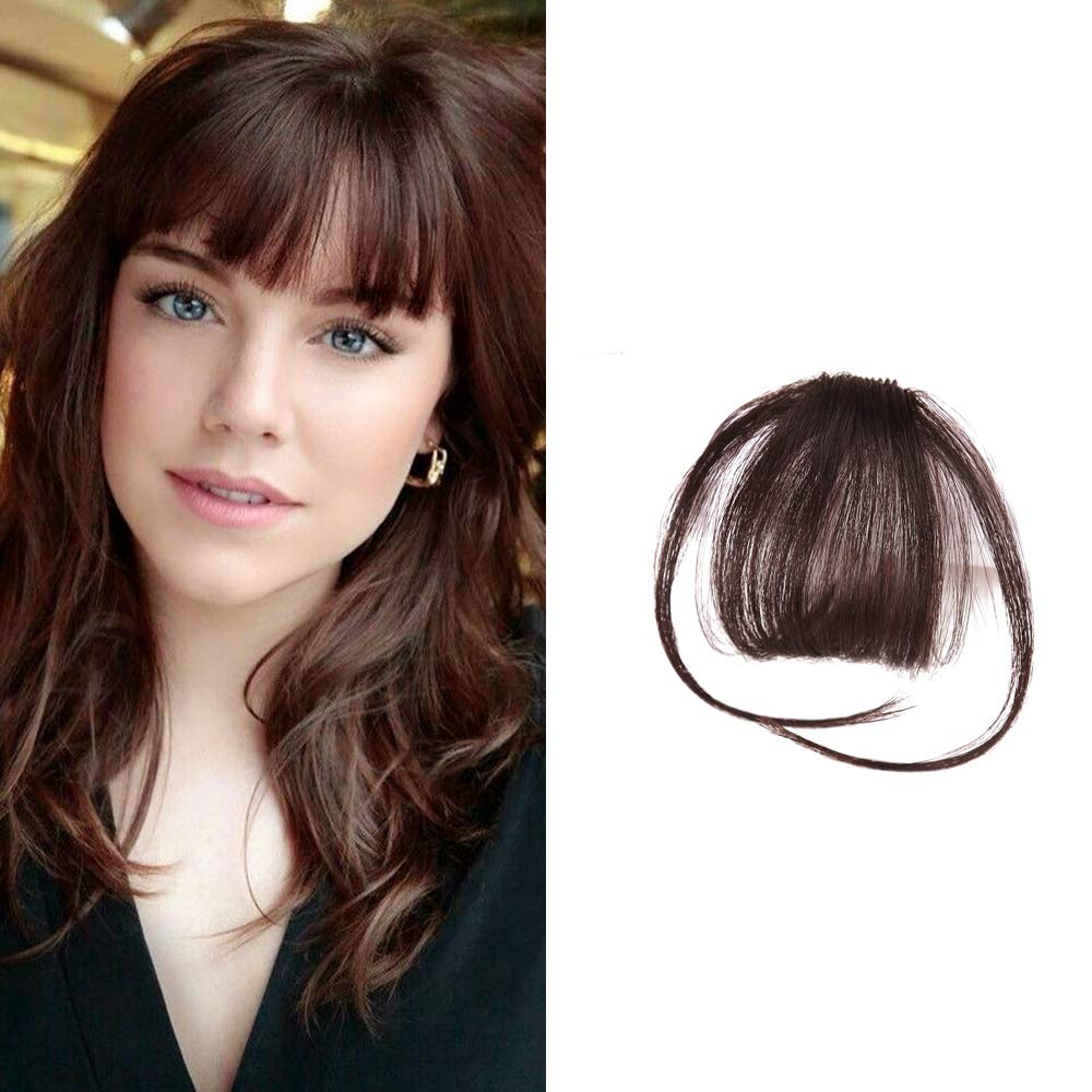 HIKYUU Dark Brown Neat Bangs with Temples Clip in Hair Extensions Bangs Extensions Real Remi Brazilian Human Hair Fringe Clip in Bang Human Hair