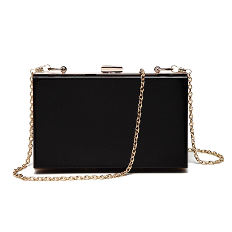 Lanpet Women Acrylic Transparent Evening Clutches Shoulder Bag Cross-Body Purse Party Bag (black)