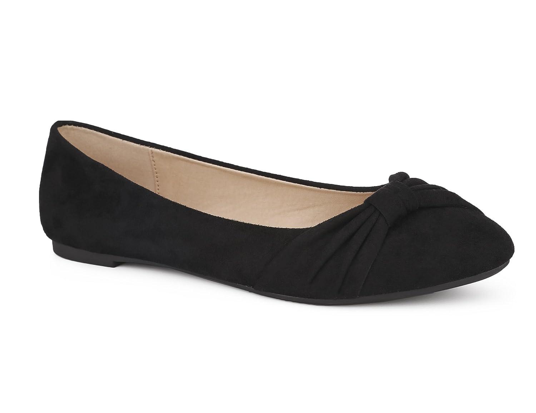 MaxMuxun Women Shoes Faux Suede Round Toe Ballet Flats B07CHGDGDS 41 EU/10 US|Black