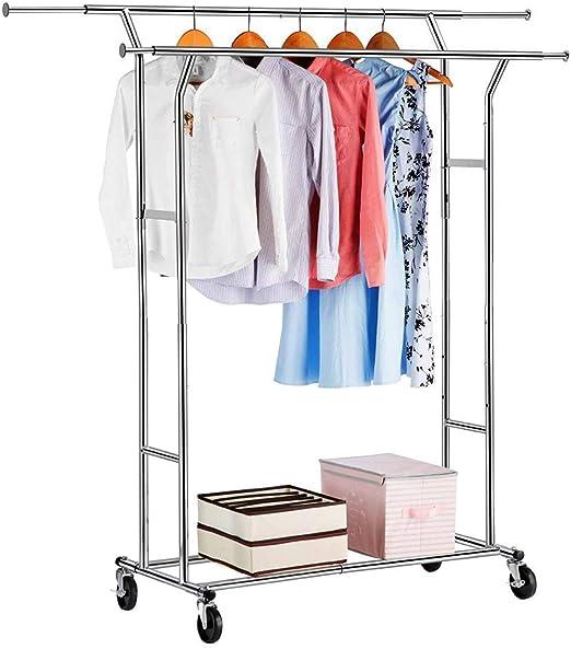 Heavy Duty Single//Double Rail Wheel Adjustable Garment Rack Shelf Clothes Hanger