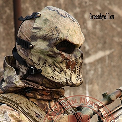 Airsoft Paintball Camouflage Python Skull Mask Protective Mask CS Full Face Protective - Camo Airsoft Paint