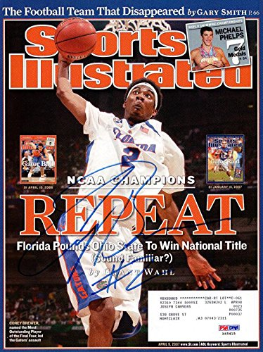 Corey Brewer Autographed Sports Illustrated Magazine Florida Gators #X65415 PSA/DNA Certified Autographed College Magazines