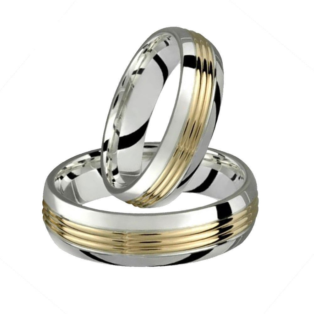 Alain Raphael 6 Millimeters Wide 2 Tone .925 Sterling Silver & 10K Yellow Gold Wedding Band set Unisex