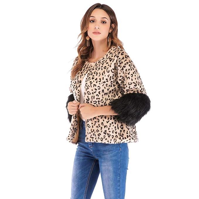 Abrigos para Mujer Corto Leopardo Piel Pitchwork Cuello Redondo 3/4 Mangas Leopardo Cardigan (