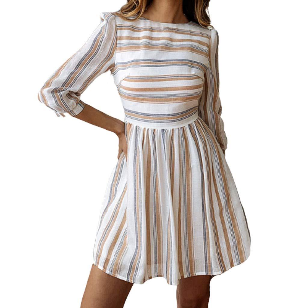 CixNy Damen Kleider Röcke Kurzarm Sommerkleider Strandkleid Sommer Abendmode Frühling Und Mode Lässig Wild Print Gestreiftes Rundes Damenkleid Tüllkleid