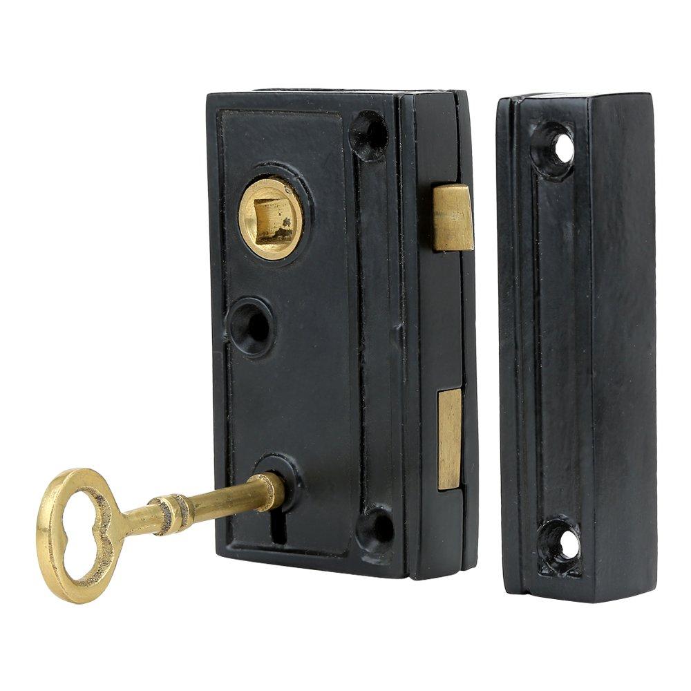 A29 Hardware 1 3/8 Inch Backset Narrow Screen Door Rim Lock, Black Powder  Coat Finish