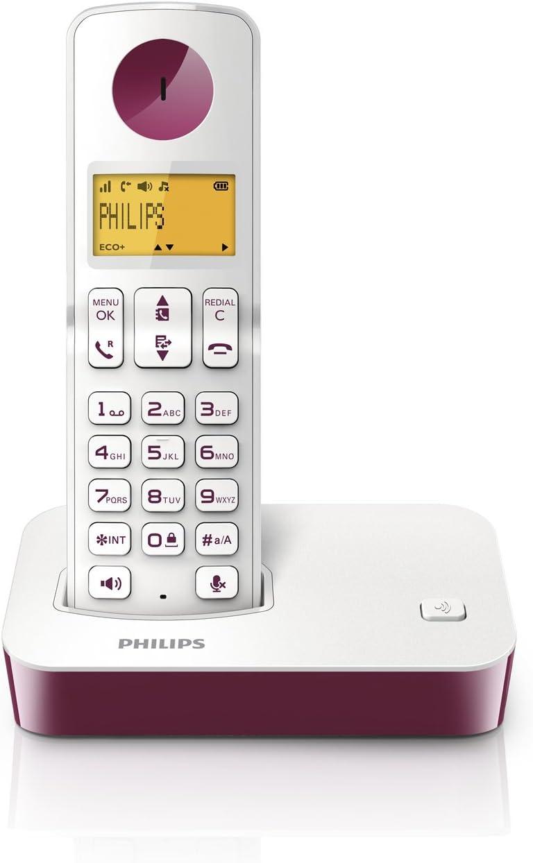 Philips D 2001 WP - Teléfono fijo digital (inalámbrico, pantalla LCD, identificador de llamadas), blanco y rojo: Amazon.es: Electrónica