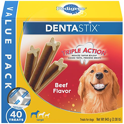 (PEDIGREE DENTASTIX Large Dental Dog Treats Beef Flavor, 2.08 lb. Value Pack (40 Treats))