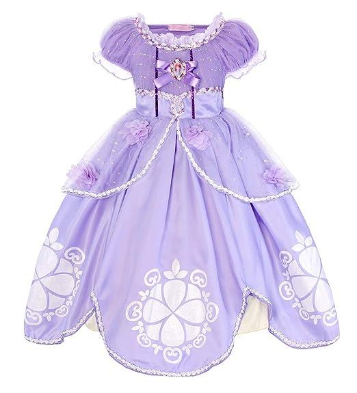 AmzBarley Niñas Princesa Sofía Vestirse Vestidos de Fiesta de Disfraces para niños Vestir Fiesta de cumpleaños de Halloween Cumpleaños de Halloween ...