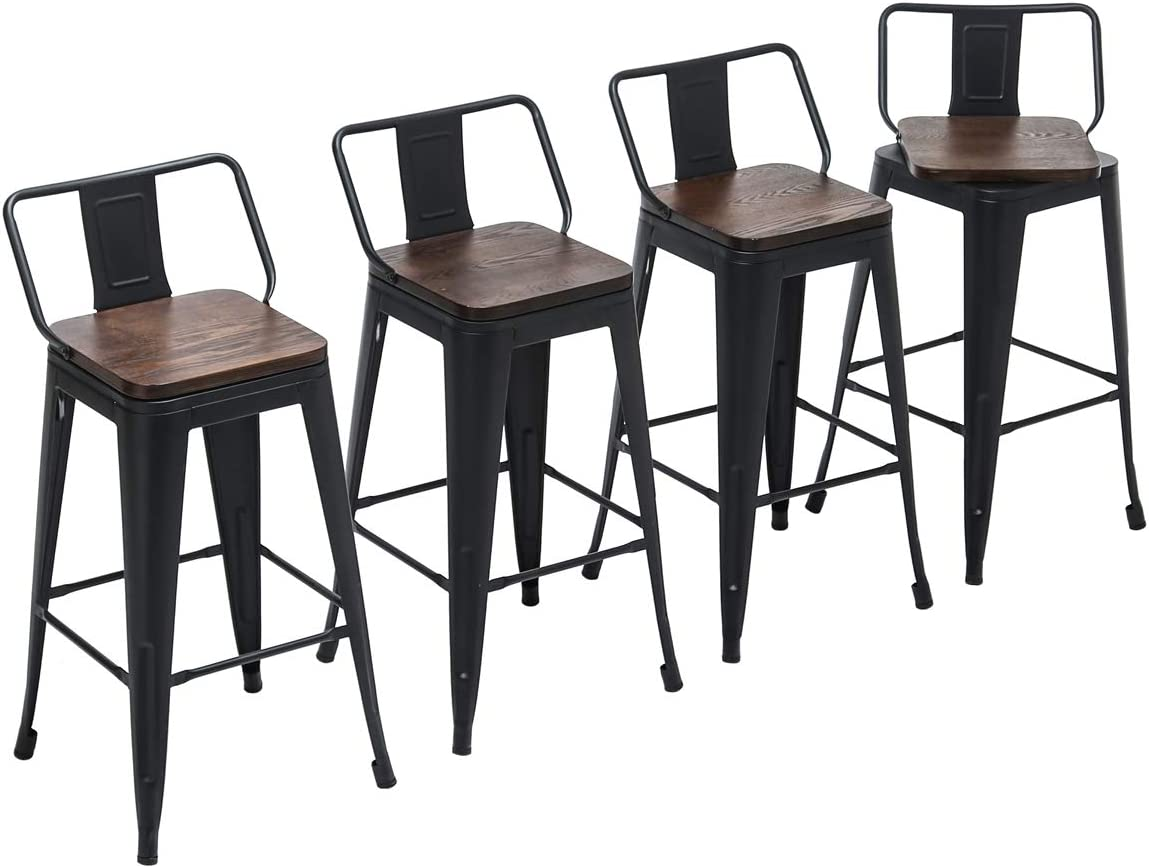 Yongchuang Metal Counter Bar Stools with Low Back Wooden Seat Set of 4 Swivel 26 , Black