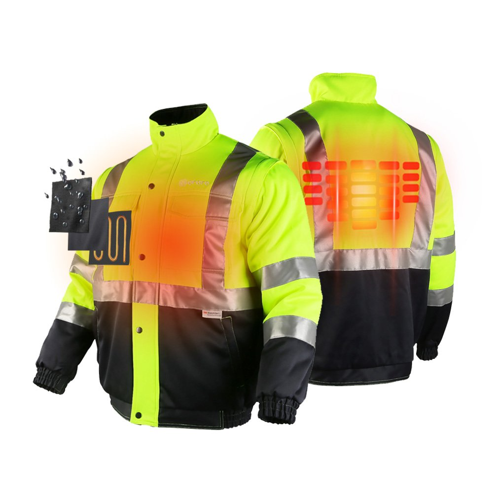 ororo Men's Heated Jacket ANSI/Isea Class 2 High Visibility Safety Bomber Jacket With Battery Pack(XL) by ororo (Image #2)
