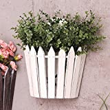 Cheap REARAND American Village Style Wall Hanging Basket Wooden Basket Storage Flower Garden Home decoration Wall Hanging Flower Basket (White)