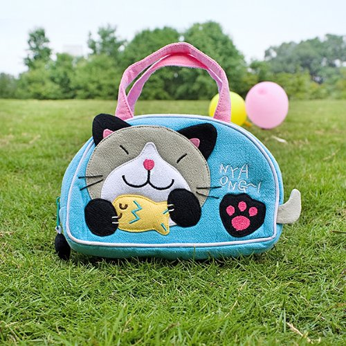Kitty Loves Fish - [Kitty Loves Fish] Embroidered Applique Kids Mini Handbag / Cosmetic Bag / Travel Wallet (7.1*4.3*2)