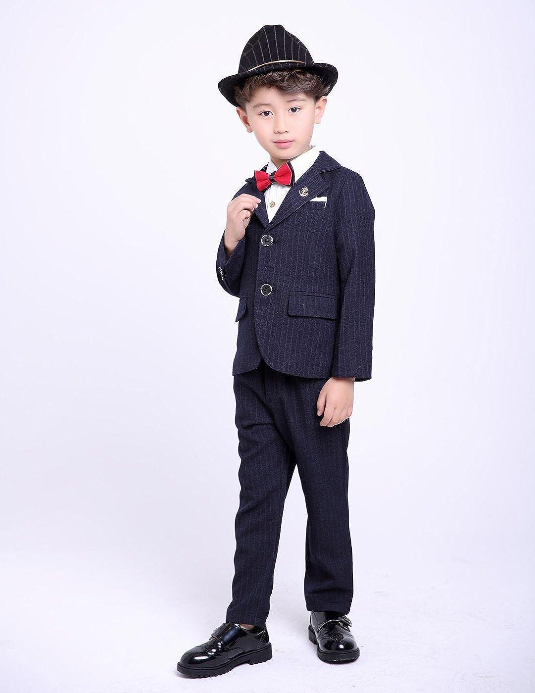Amazon.com: fengchengjize Niños Pinstripe 3 Pcs traje formal ...