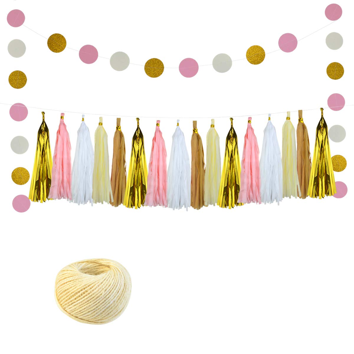 Tissue Paper DIY Assembled Paper Tassel Party Garland Pom Poms with Polka Dot Paper Garland and Cotton Rope 27pcs for Birthday, Bridal Shower, Baby Shower,Wedding,Nursery Decorations by Lee-buty