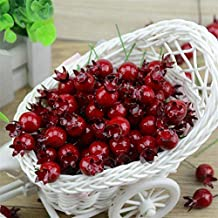 20PCS Mini Fake Smooth Glass Pomegranate Fruit Small Berries Artificial Flowers red cherry