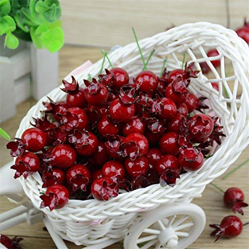 20PCS Mini Fake Smooth Glass Pomegranate Fruit Small Berries Artificial Flowers red cherry nikstoreinus