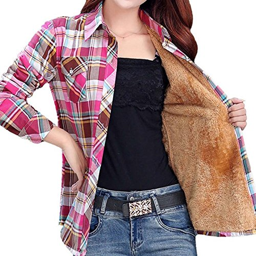 Lined Long Sleeve Blouse - Lasher Women's Button Down Plaid Shirt Warm Long Sleeve Fleece Lined Top Blouse,Coffee Red,US X-Small/Asian M