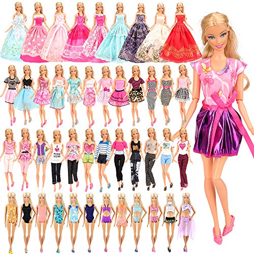 BARWA 16 Pack Doll Clothes and Accessories 5 PCS Fashion Dresses 5 Tops 5 Pants Outfits 3 PCS Wedding Gown Dresses 3 Sets Swimsuits Bikini for 11.5 inch Doll  (For Clothes Big Girls Barbie)