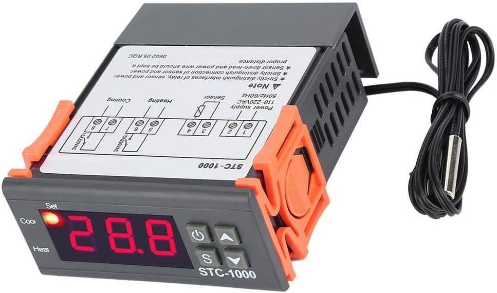 Temperature Controller Hazmemejor Digital Thermostat Digital Temperature Controller Temp Sensor Electric Thermostat Control 110-220V