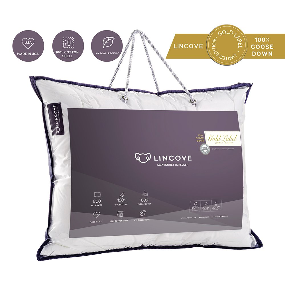 100% Hungarian Goose Down Luxury Sleeping Pillow - Enhance Your Sleep with the Ultra Soft Down RÊVUER Bed Pillow by Lincove - 800 Fill Power 600 Thread Count - MADE IN USA (Queen)