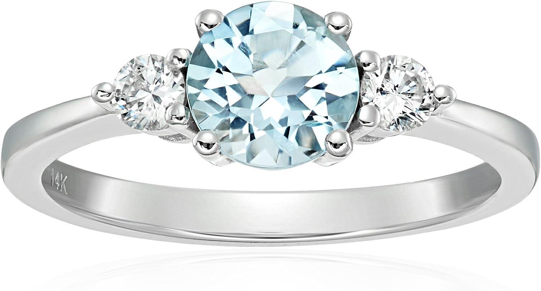 Size 7 Pinctore 10k White Gold Aquamarine Diamond Cushion Halo Engagement Ring