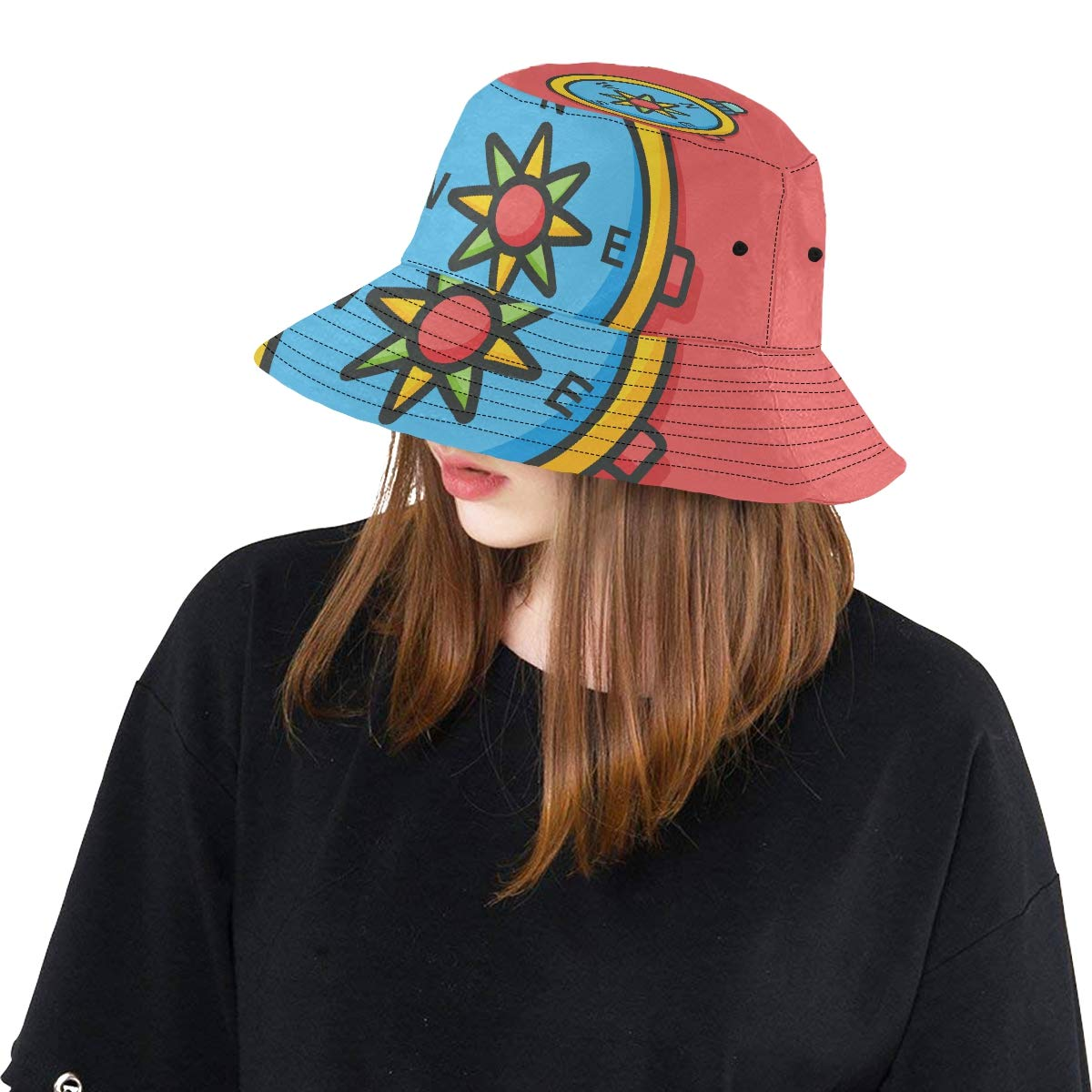 Old Ancient Nautical Ship Anchor Campass New Summer Unisex Cotton Fashion Fishing Sun Bucket Hats for Kid Teens Women and Men with Customize Top Packable Fisherman Cap for Outdoor Travel