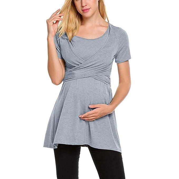 2e42a28f7ce3 BANAA Maglietta Premaman Donna Estive Eleganti Camicie Bambi T-Shirt Moda  Doppio Strato Top Gilet