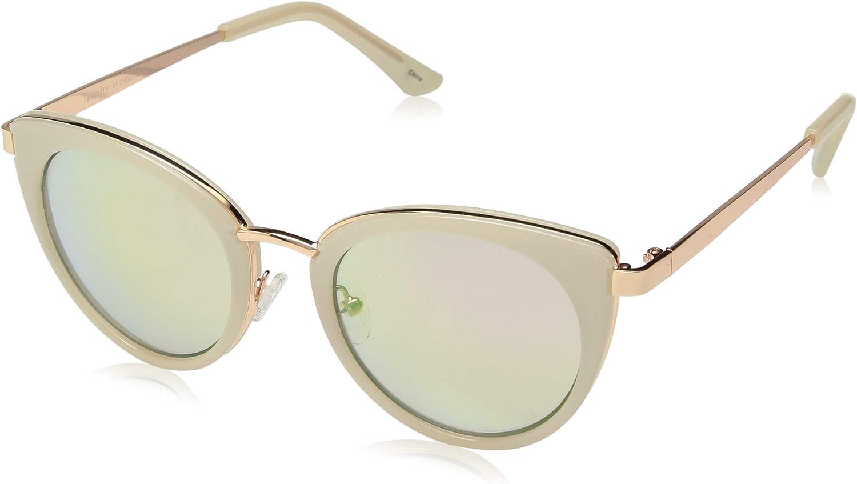 Laundry by Shelli Segal Women's LS205 Polarized Cat-Eye Sunglasses, White, 62 mm