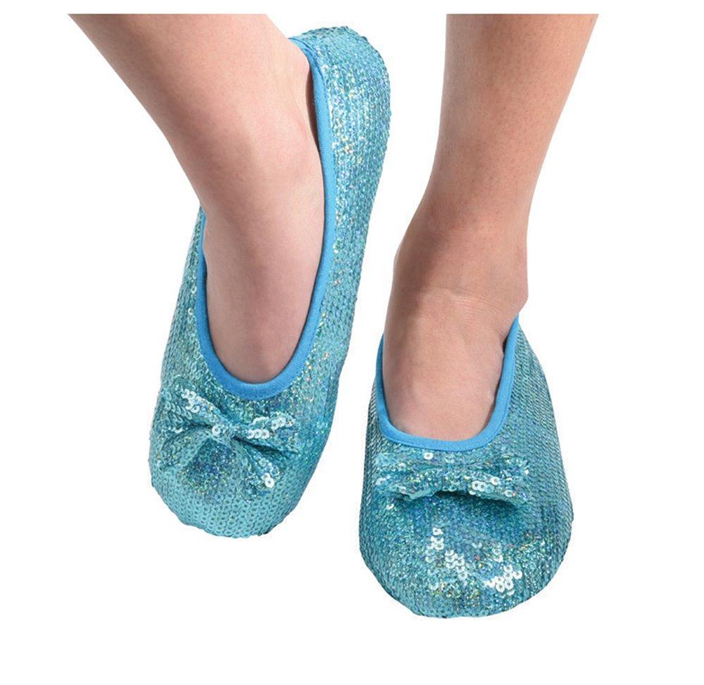 Snoozies Womens Iridescent Sequin Ballet Non-Skid Slipper Socks - Blue, Large