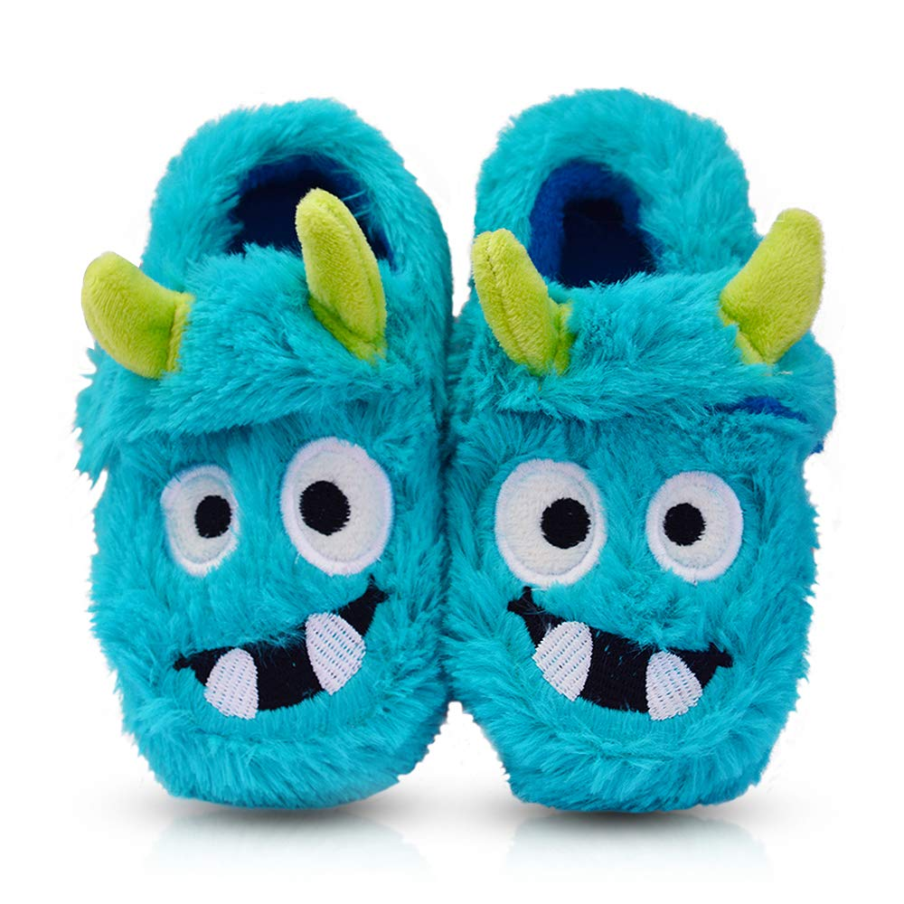 LA PLAGE Boy's Cotton-Shaped Monster Upper House Cartoon Slippers Size Toddler 11 US Blue