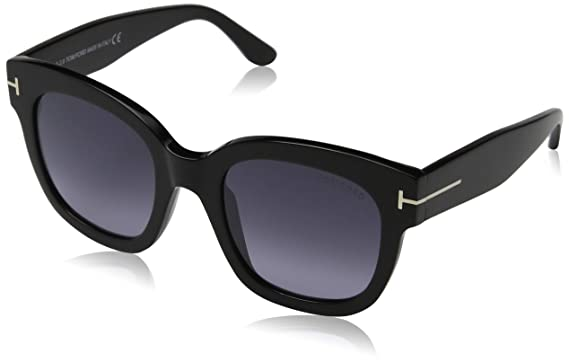 fba7405463 Image Unavailable. Image not available for. Color  Tom Ford FT0613 01C  Shiny Black Beatrix Square Sunglasses Lens ...
