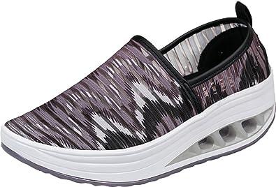 Gaatpot Damen Atmungsaktiv Netz Sandalen Sommer Keilabsatz Schuhe Leicht Laufschuhe Fitness Laufen Freizeitschuhe Db363RY