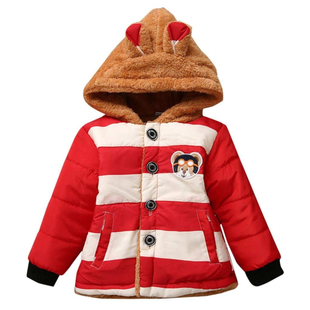 Nibito Baby Toddler Boys Girls Autumn Winter Hooded Coat Cloak Thick Warm Clothes (Red, 6Month)
