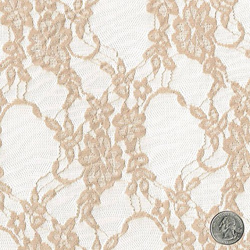 Stretch Lace Fabric Taupe Wedding Bridal Lace Curtain Tulle Sheer Stretch Lace Fabric by the Yard - 1 Yard style 13331A