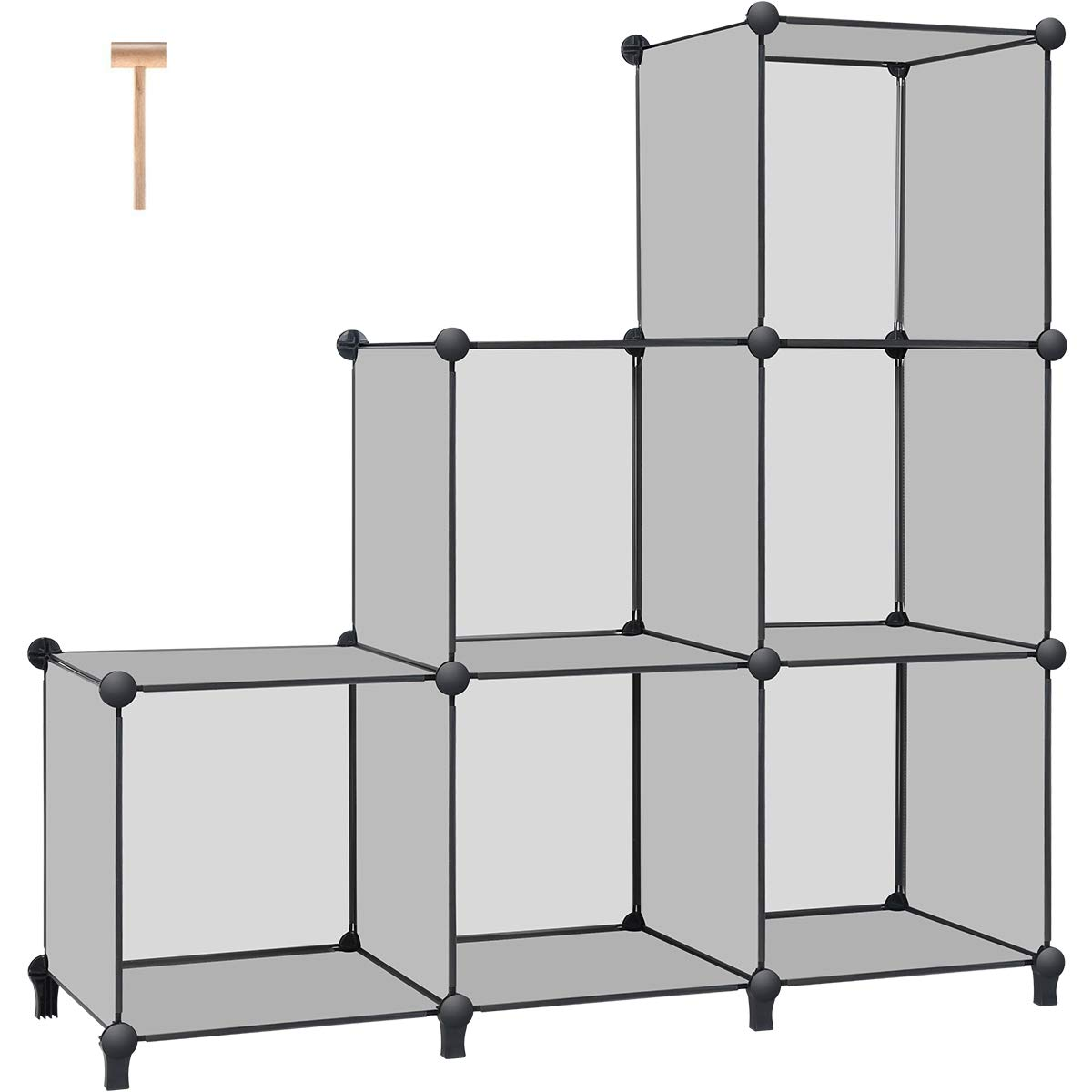 TomCare Cube Storage 6-Cube Book Shelf Storage Shelves Closet Organizer Cube Organizer Shelving Plastic Bookshelf Bookcase DIY Closet Cabinet Organizers Shelves for Bedroom Office Living Room, Grey