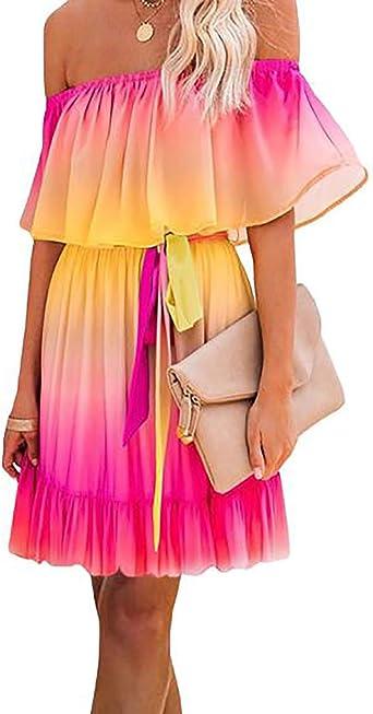 Maxi Dresses for Women V Neck Gradient Color Ruffle Long Sleeve Flowy Beach Dress