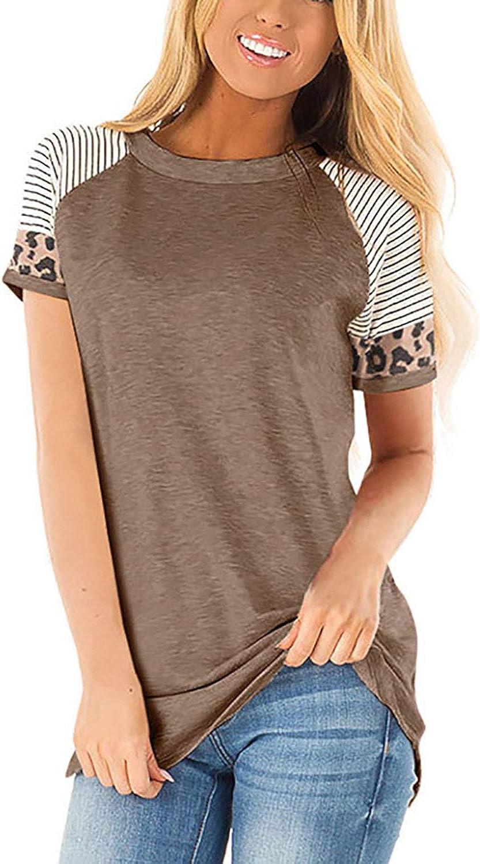 Damen T-Shirts Bluse Farbblock Pullover Kalte Schulter Shirts Leoparden Oberteile Tunika Kurzarm Rundhals Tops