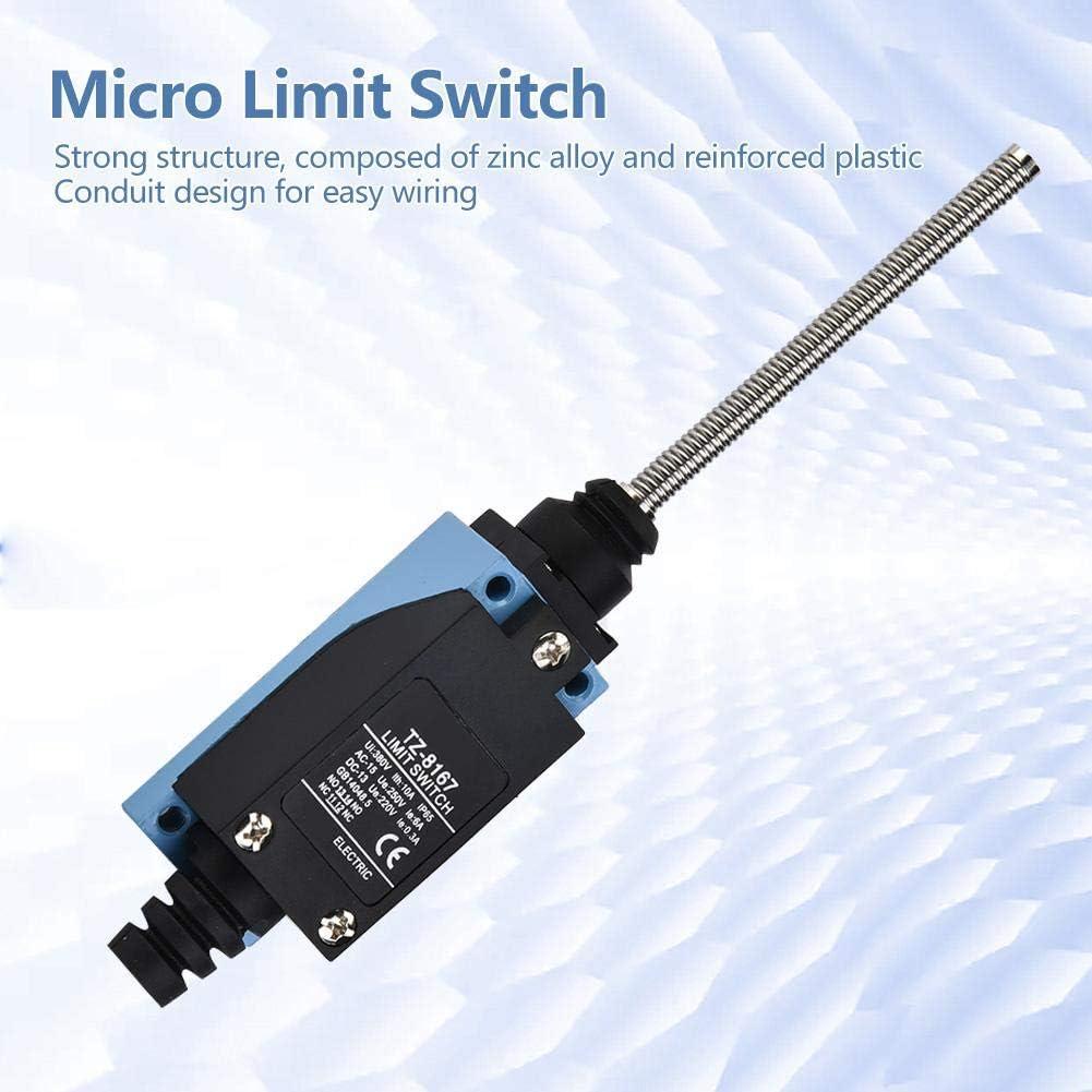 BM-8166 Wasserdichter Mikroschalter Momentangrenzschalter Auto-Reset-Rollenkolben Flexibler Federstabschalter